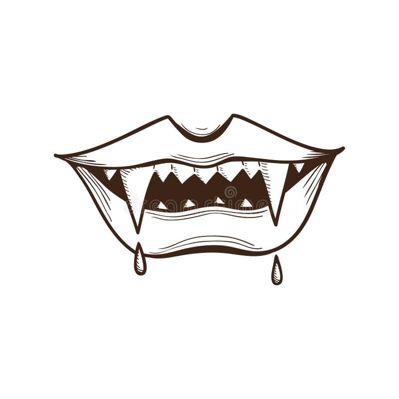 Vampire mouth. stock illustration