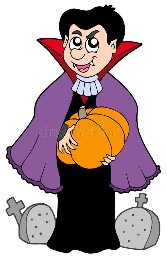 Vampire with pumpkin royalty free illustration