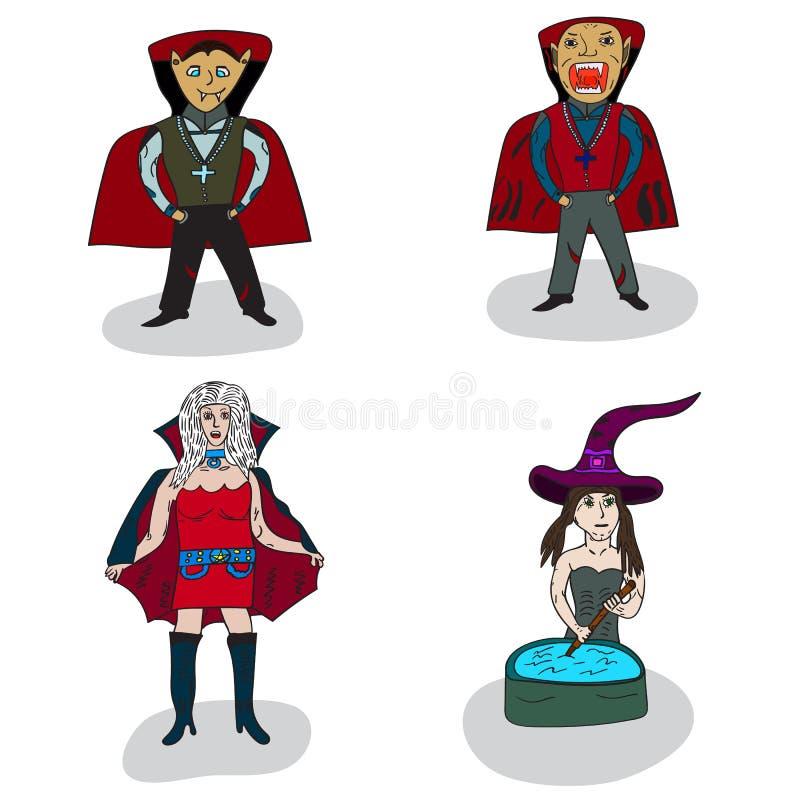 Vampire und Hexen auf Halloween lizenzfreie abbildung