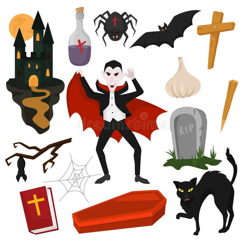 Vampire vector cartoon dracula character in scary halloween costume and vampirism signs illustration set of spooky evil stock illustration