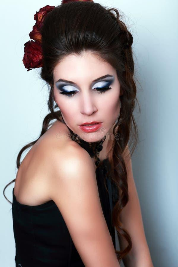 Vampire victorian style woman stock photo
