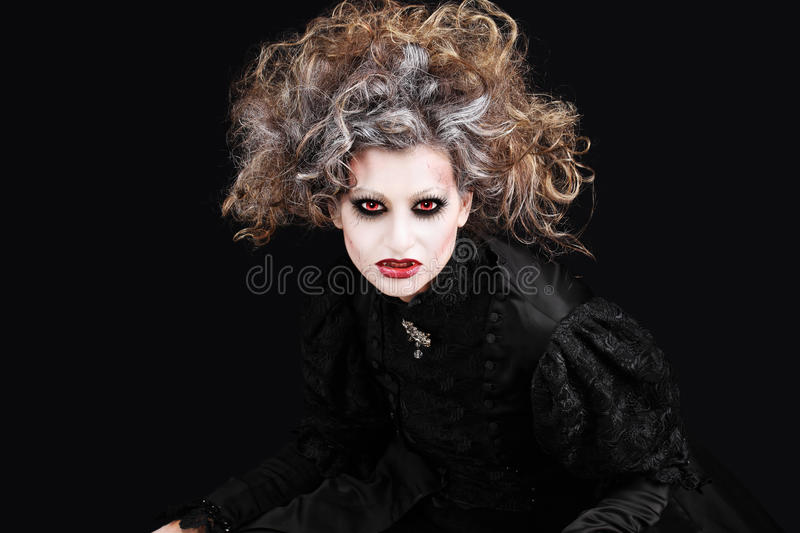 Vampire woman portrait, halloween make up royalty free stock photo