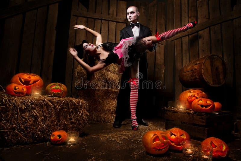 Vampires With Halloween Pumpkin Royalty Free Stock Photo