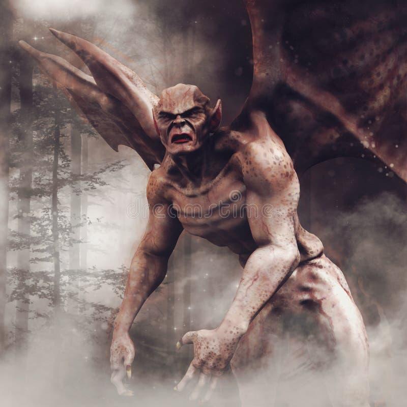 Vampiro alato in una foresta illustrazione vettoriale