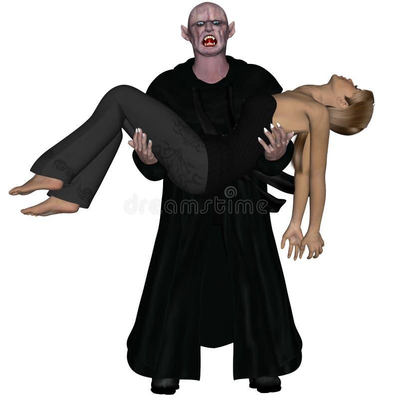 Vampiro anziano che trasporta giovane donna incosciente royalty illustrazione gratis