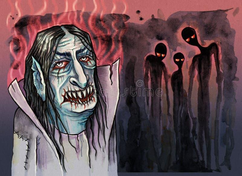 Vampiro con i fantasmi diabolici accanto lui royalty illustrazione gratis
