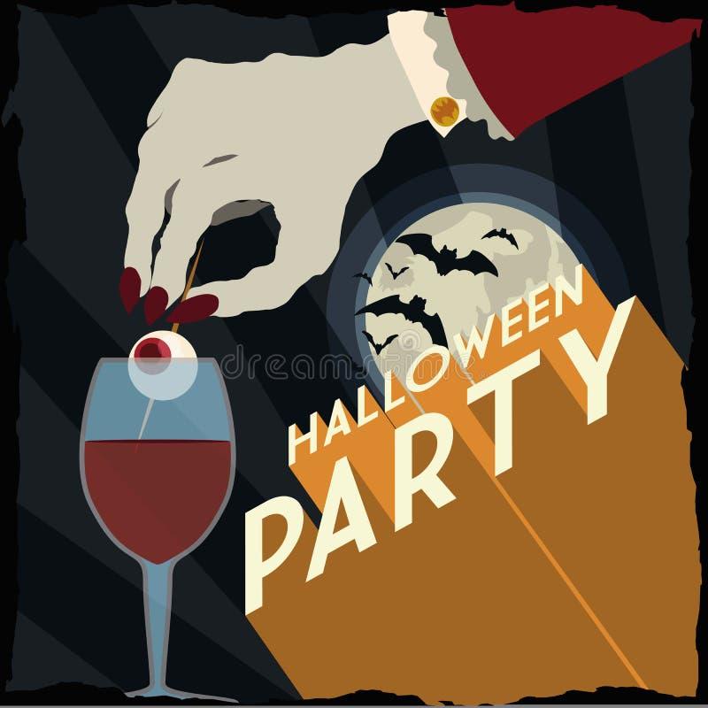 Vampiro con la bebida asustadiza en un cartel fantástico del partido de Halloween ilustración del vector