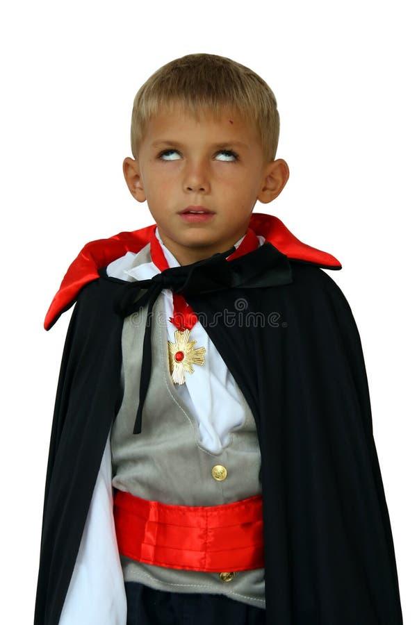 Vampiro del bambino con gli occhi bianchi fotografie stock libere da diritti