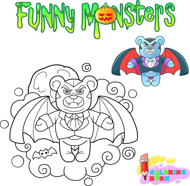 Vampiro del oso de peluche, libro de colorear divertido del ejemplo ilustración del vector