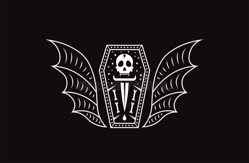 Vampiro della bara del cranio Illustrazione di vettore del cranio di logo illustrazione di stock