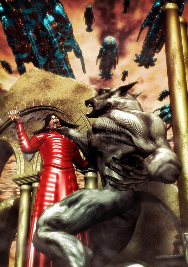 Vampiro e batalha do homem-lobo ilustração do vetor