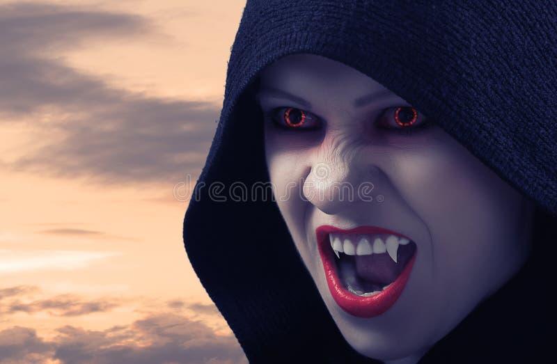 Vampiro fêmea irritado no por do sol imagem de stock royalty free