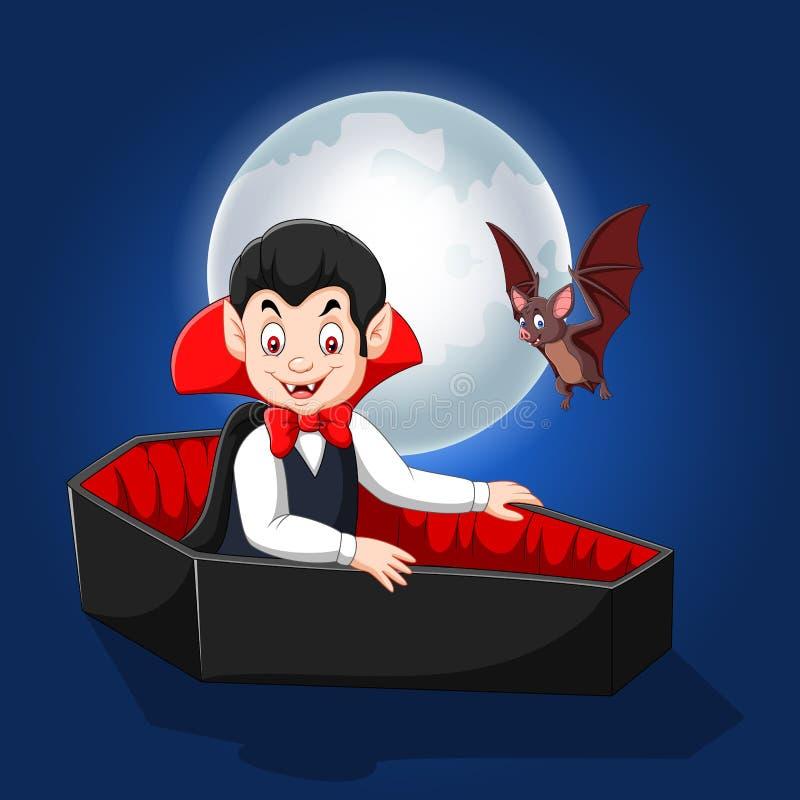 Vampiro felice del fumetto in sua bara royalty illustrazione gratis