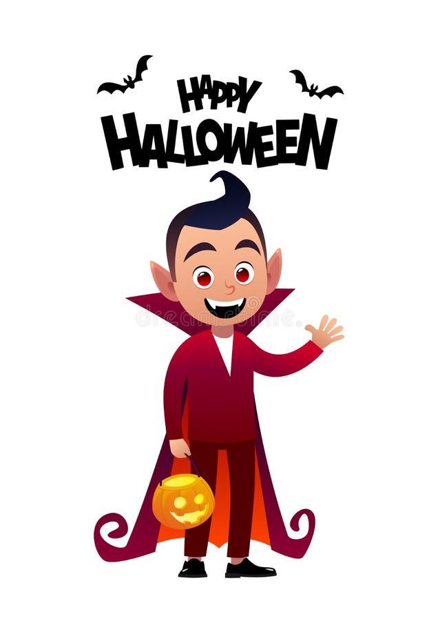Vampiro feliz do traje da criança de dracula do personagem de banda desenhada de Dia das Bruxas ilustração royalty free