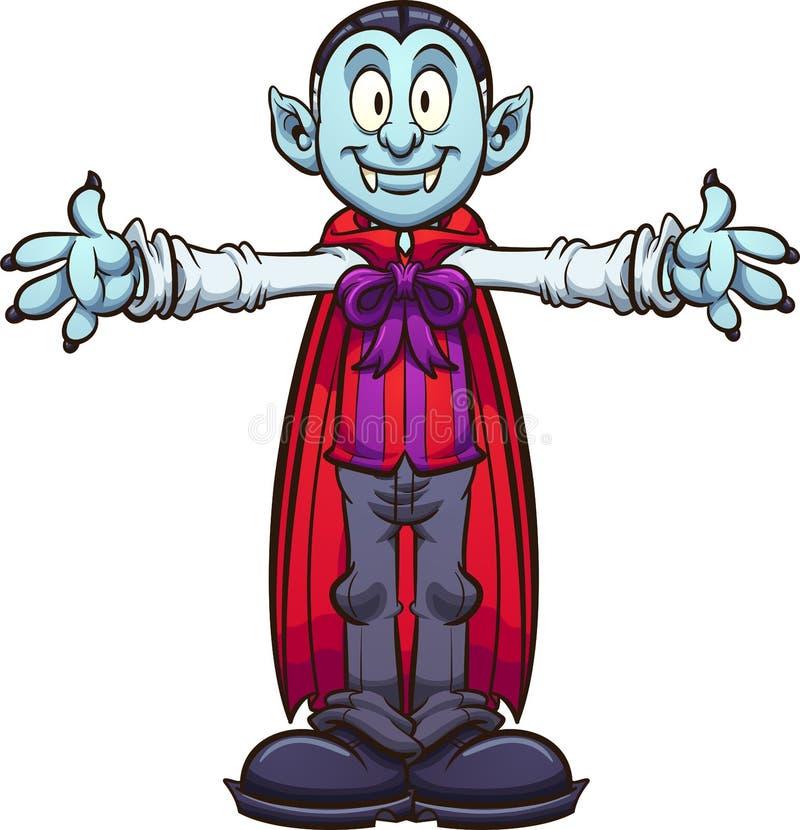 Vampiro feliz dos desenhos animados com braços prolongados ilustração stock
