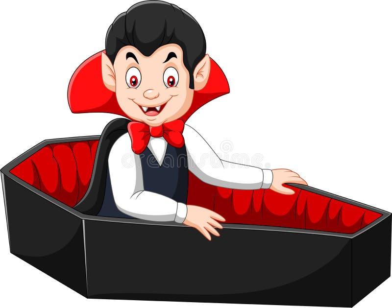 Vampiro feliz dos desenhos animados em seu caixão ilustração royalty free