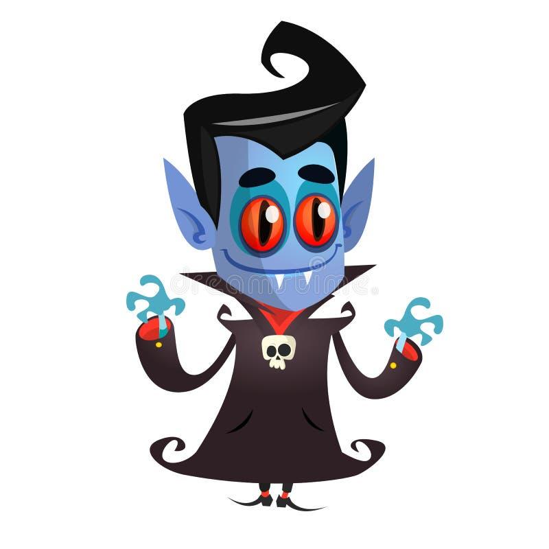 Vampiro lindo de la historieta con los ojos rojos Ejemplo del vector de Drácula libre illustration