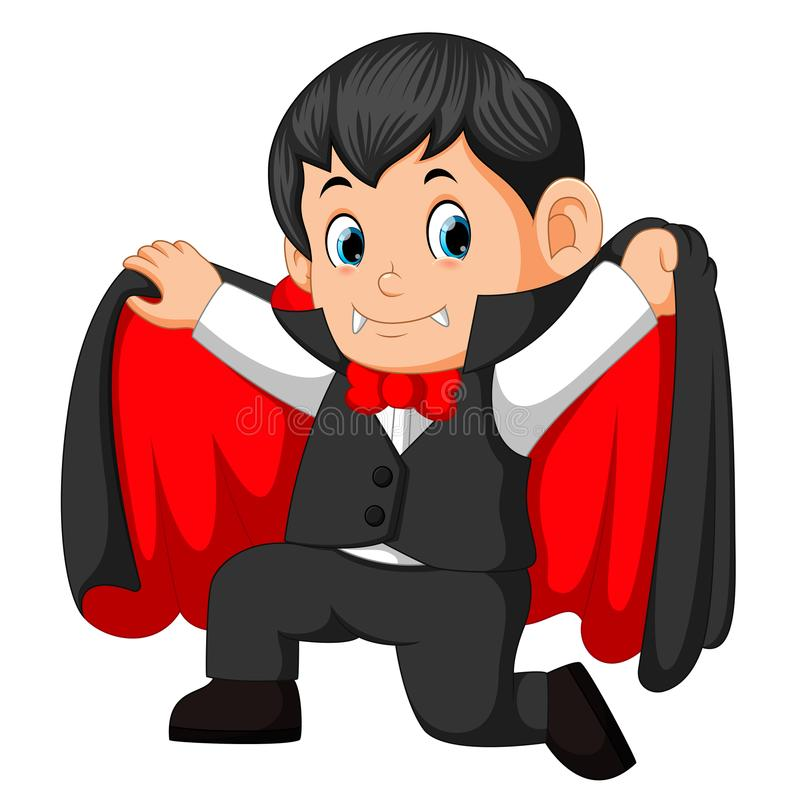 Vampiro pequeno dos desenhos animados engraçados ilustração royalty free