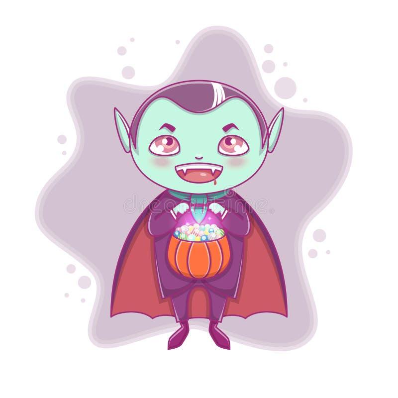 Vampiro pequeno Dracula de Dia das Bruxas Criança do menino com a cara de sorriso no traje do Dia das Bruxas com a abóbora em sua ilustração do vetor