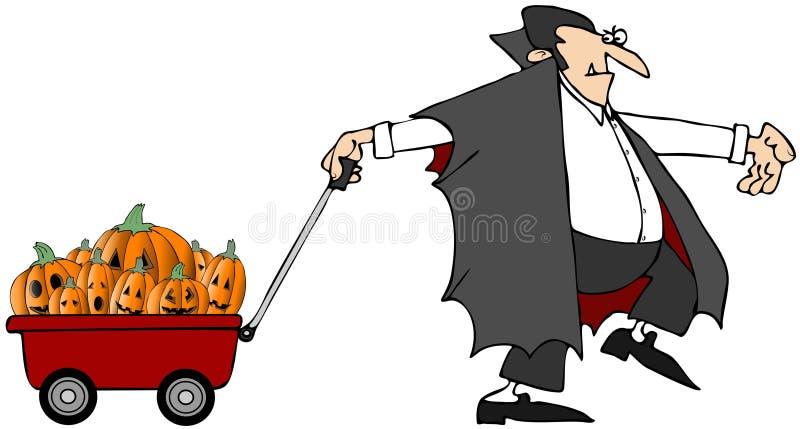 Vampiro que puxa abóboras ilustração do vetor