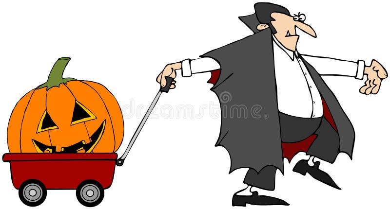 Vampiro que puxa uma abóbora ilustração royalty free