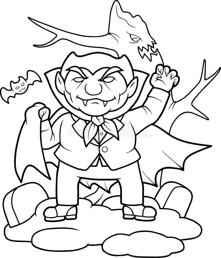 Vampiro subido del sepulcro ilustración del vector
