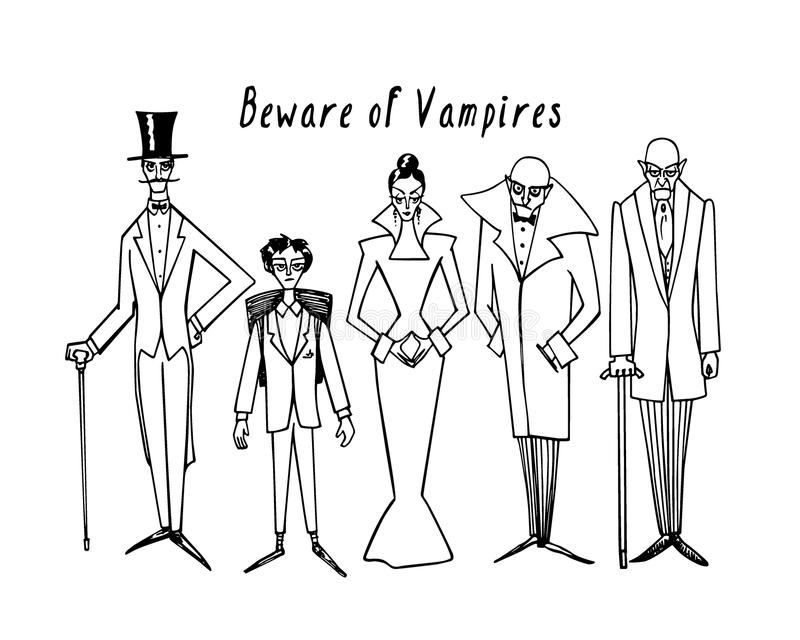 Vampiros dibujados mano stock de ilustración