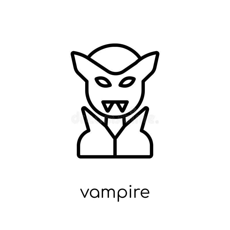Vampirsikone Modische moderne flache lineare Vektor Vampirsikone auf w vektor abbildung