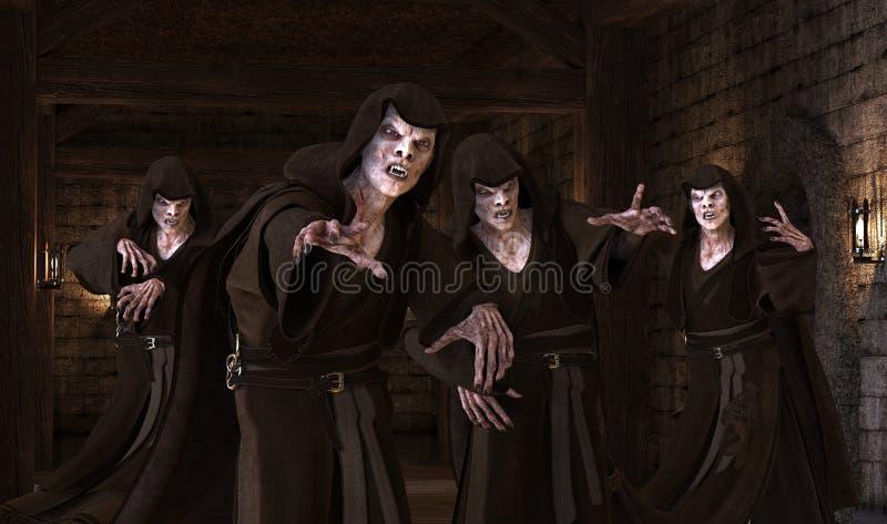 Vampirsmonster der Illustration 3D auf einem mittelalterlichen Hintergrund lizenzfreie abbildung