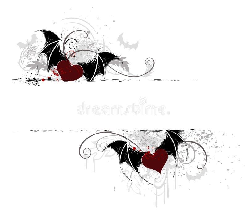 vampyr för banerhjärta två stock illustrationer