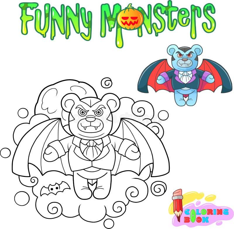 Vampyr för nallebjörn, rolig illustrationfärgläggningbok vektor illustrationer