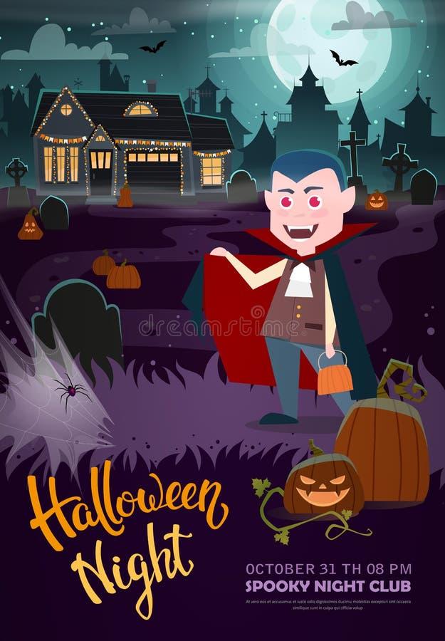 Vampyr, spökat hus och fullmåne Allhelgonaaftonpartireklamblad royaltyfri illustrationer
