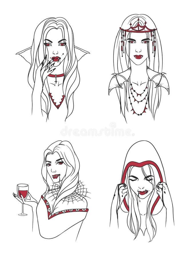 Vampyrflicka Kvinna med huggtänder och blod Ståendehalloween för samling stilfullt tecken Hand dragen konturvektor vektor illustrationer