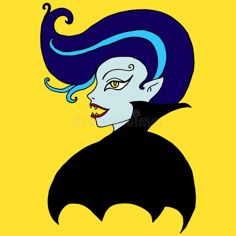 Vampyrflicka som isoleras Tecknad film fantasiframsida av en blodsugare royaltyfri illustrationer