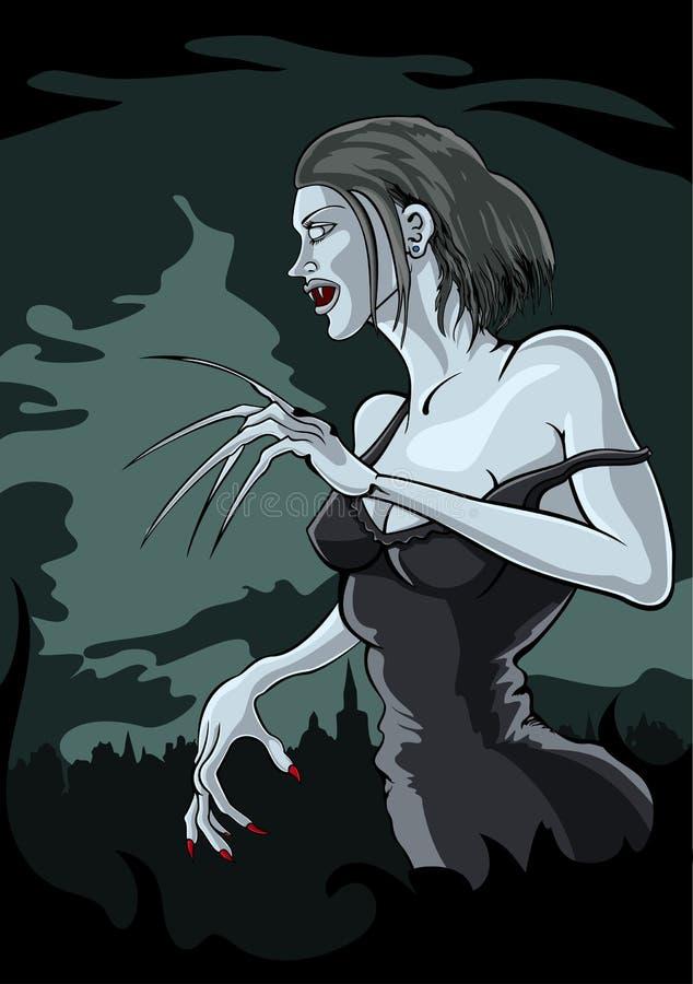 Vampyrkvinna stock illustrationer