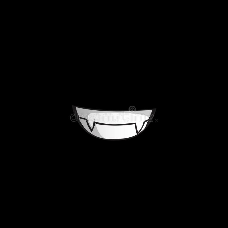 Vampyrleende med vita huggtänder som isoleras på svart bakgrund vektor illustrationer