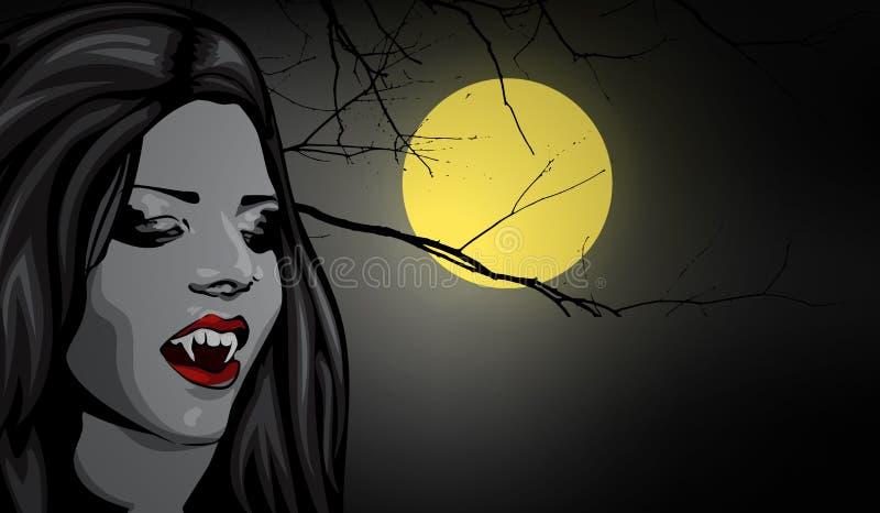Vampyrskönhetkvinna, rött hår, öppen mun, rov- vampyrhuggtand, halloweens vektorbild vektor illustrationer