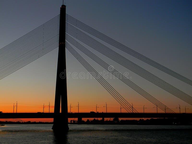 Vanšu Bridge. The Vanšu Bridge (Latvian: Vanšu tilts) in Riga is a cable-stayed bridge that crosses the Daugava river in Riga, the capital of Latvia. It royalty free stock photo