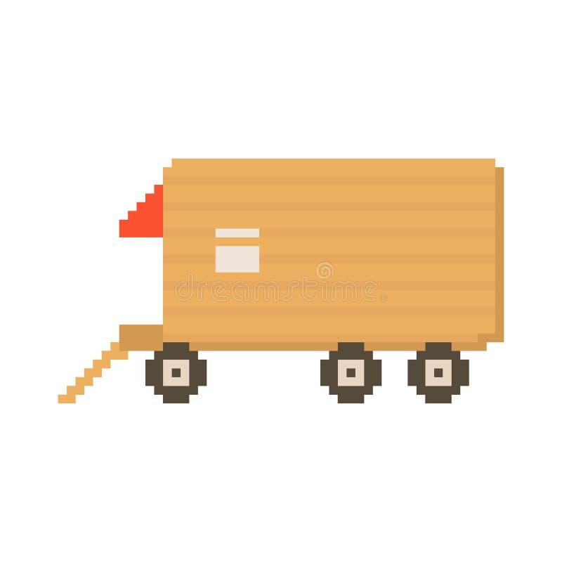 Van изолировал на белой предпосылке Графики для игр иллюстрация вектора 8 битов в искусстве пиксела иллюстрация штока