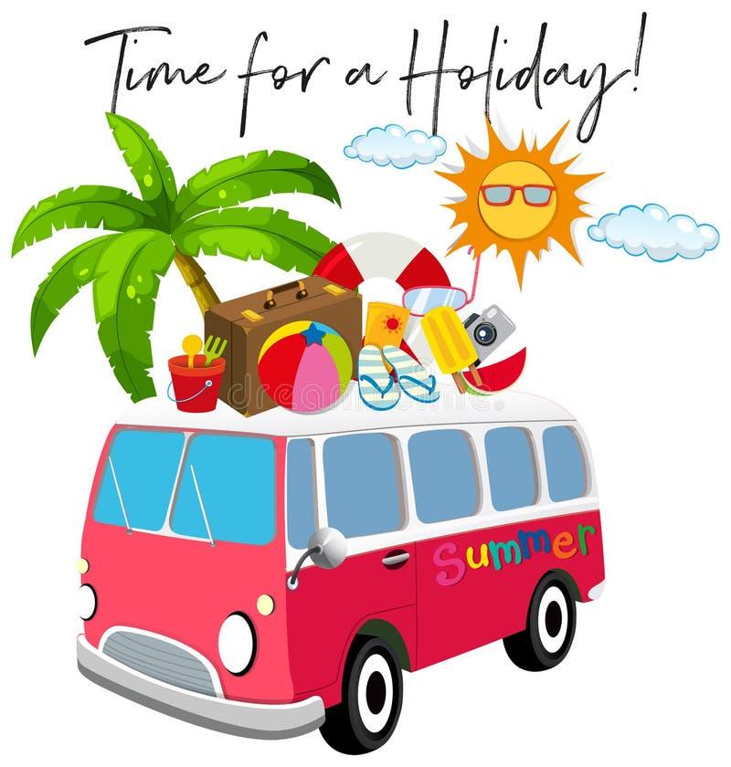 Van с деталем лета и временем фразы на праздники иллюстрация вектора
