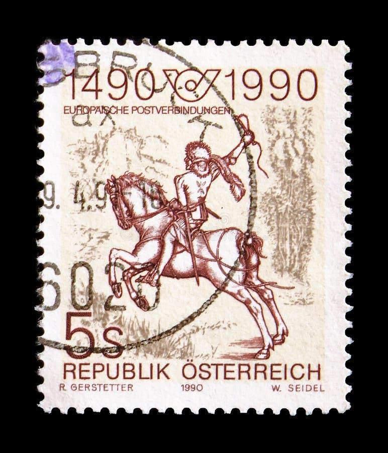 Van 'Kleine Postrider 'de gravure door Albrecht Durer, Internationale Postverbindingen serie, circa 1990 royalty-vrije stock foto