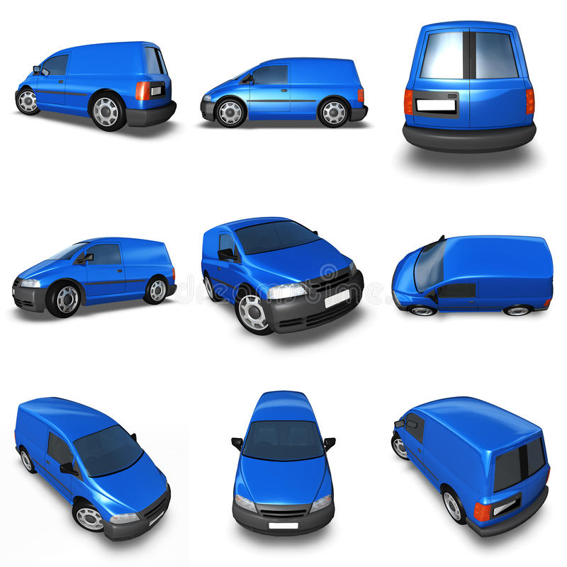 Van 3d Model blu - montaggio delle immagini immagine stock libera da diritti