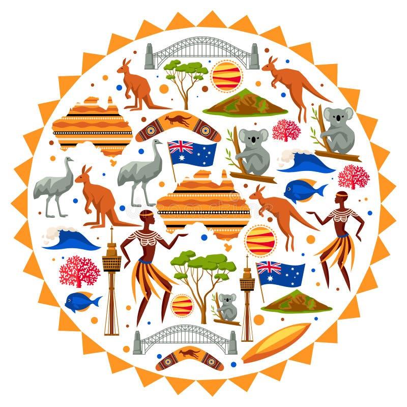 Van achtergrond Australië ontwerp Australische traditionele symbolen en voorwerpen