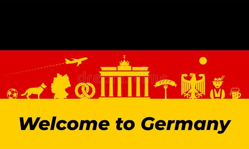 Van achtergrond Duitsland ontwerp De de traditionele symbolen en voorwerpen van Duitsland stock illustratie