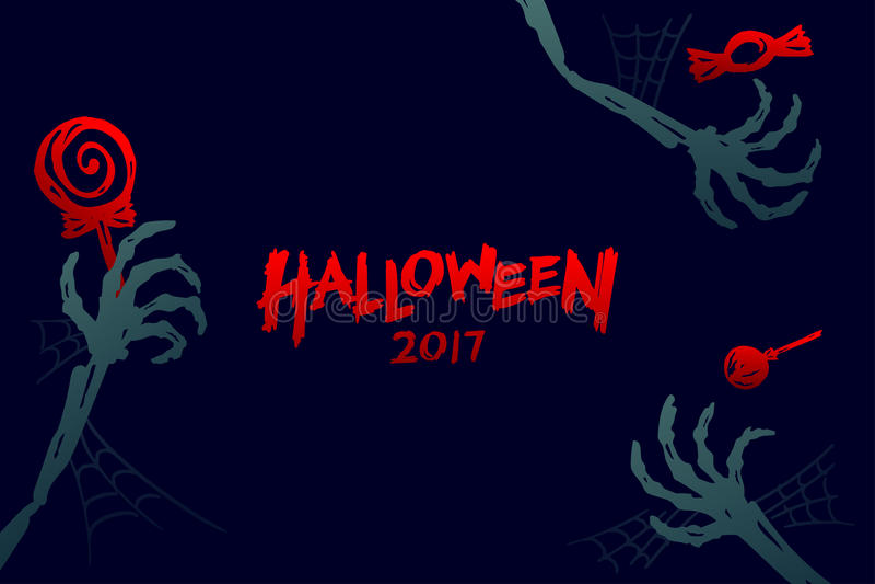 Van achtergrond Halloween 2017 malplaatjereeks, de hand van het skeletmonster royalty-vrije illustratie