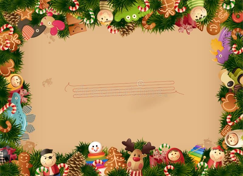 Van achtergrond Kerstmis speelgoedframe en oud document vector illustratie