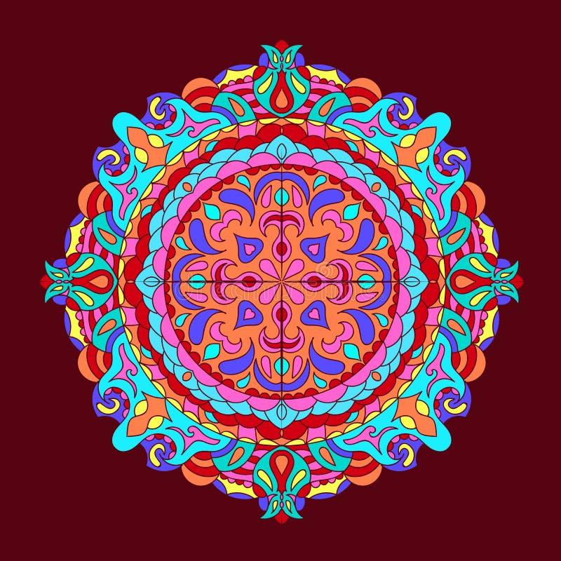 Van achtergrond kleurenmandala Uitstekende decoratieve getrokken elementenhand vector illustratie