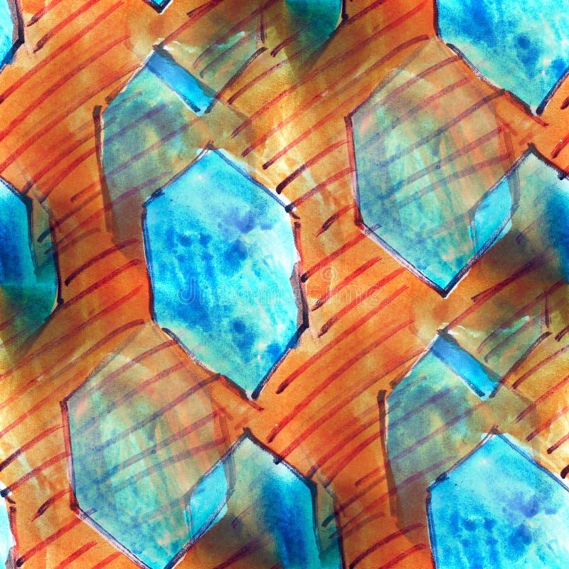 Van achtergrond muurschildering blauwe diamanten naadloze patroonachtergrond te stock illustratie