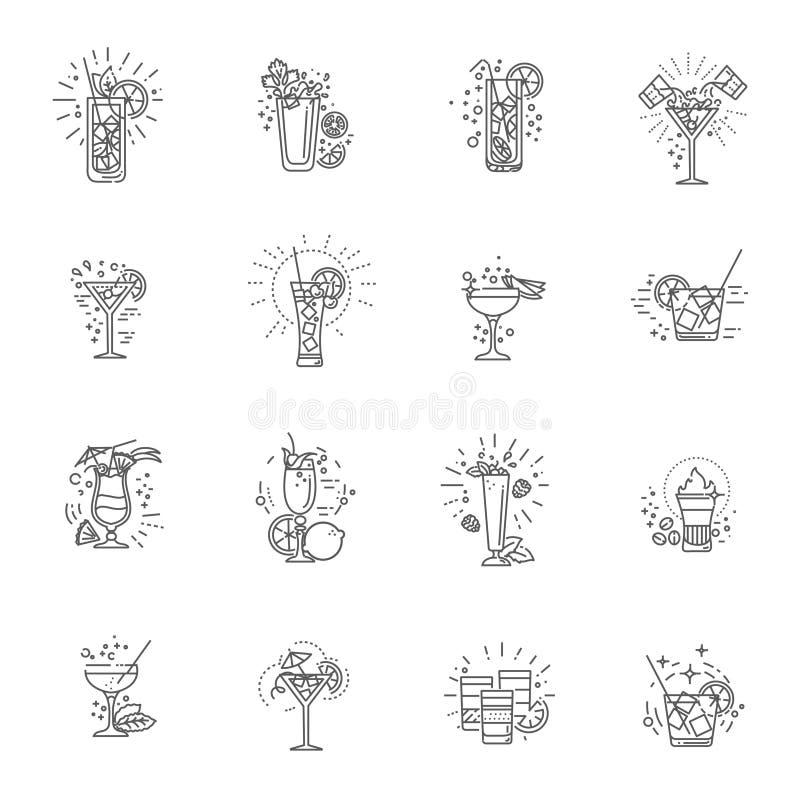 Van alcoholdranken en cocktails pictogramreeks Vector illustratie royalty-vrije illustratie