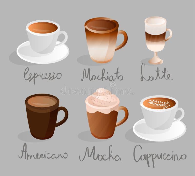 Van americanomocha van espressomachiato latte van de de cappuccino de vastgestelde koffie dranken van de het menukop royalty-vrije illustratie